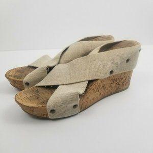 Lucky Brand  Miller Tan Cork Wedges Sandals
